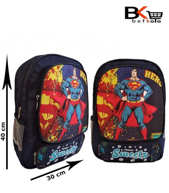 کیف مدرسه ای پسرانه جامدادی دار با طرح سوپر من مقطع ابتدایی