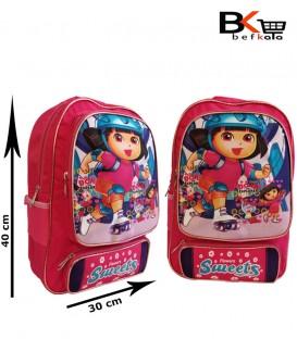کیف مدرسه ای دخترانه جامدادی دار با طرح دورا مقطع ابتدایی
