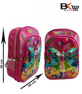کیف مدرسه ای دخترانه طرح برجسته طلقی با طرح پروانه مقطع ابتدایی
