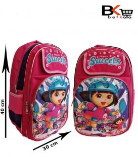 کیف مدرسه ای نقابدار دخترانه طرح برجسته ابری با طرح دورا مقطع ابتدایی
