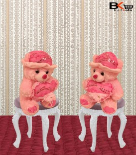 خرس عروسکی صورتی کلاه دار