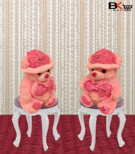 خرس عروسکی صورتی کلاه پولک دار