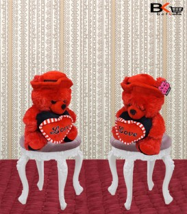 خرس عروسکی قرمز قلب دار