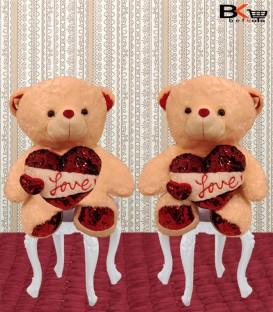 بیشترخرس عروسکی دو قلبی پولک دار سایز بزرگ