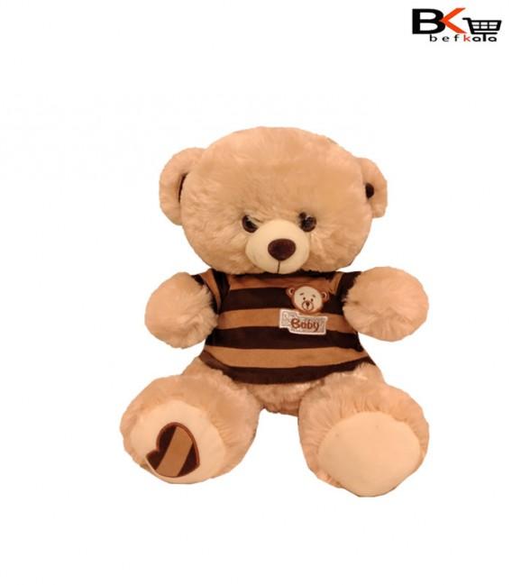 خرس عروسکی لباس راه راه کرمی سایز کوچک