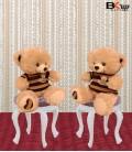 خرس عروسکی کرمی لباس راه راه سایز کوچک