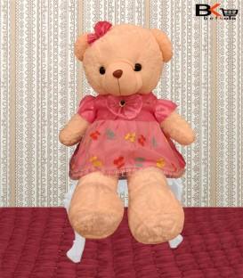 خرس عروسکی صورتی لباس صورتی گلدار