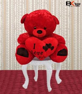 خرس عروسکی قرمز قلب دار پا دورنگی