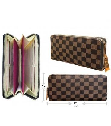 کیف پول دستی زنانه شطرنجی قهوه ای
