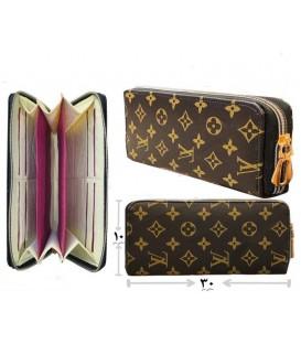 کیف پول دستی زنانه قهوه ای گل زرد زیپ بزرگ