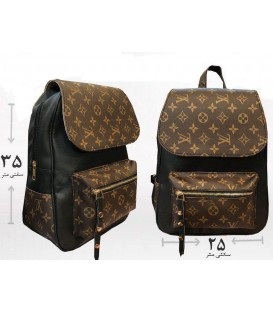 کیف کوله دخترانه LV دو زیپه قهوه ای