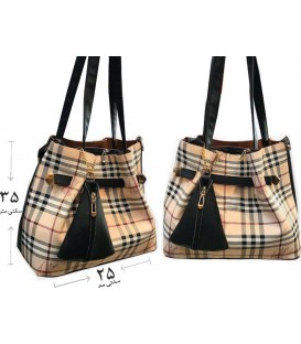 کیف دستی زنانه دو تیکه کتان چهارخونه کرم