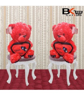 عروسک خرسی قلبی کف پا گلدوزی قرمز ویژه ولنتاین