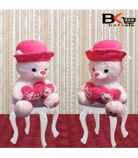 خرس عروسکی دو قلب کلاهدار صورتی