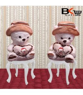 خرس عروسکی قلب دار کلاهدار AMO سفید