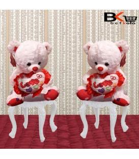 خرس عروسکی قلب دار با طرح LOVE