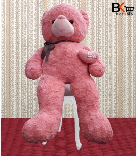 خرس عروسکی با قلب طرح Love صورتی سایز بزرگ