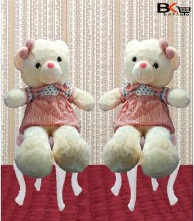 خرس عروسکی لباس راه راه پاپیون به گوش