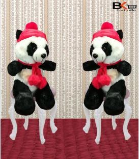 پاندای عروسکی شال و کلاه دار قرمز