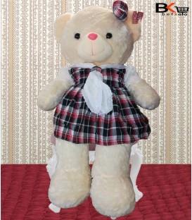 خرس عروسکی لباس چهارخونه کروات توری