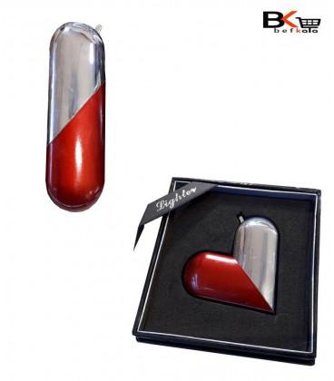 فندک اتمی قلبی نقره ای و قرمز