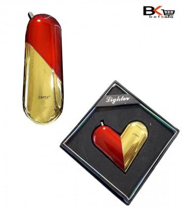 فندک اتمی قلبی طلایی و قرمز