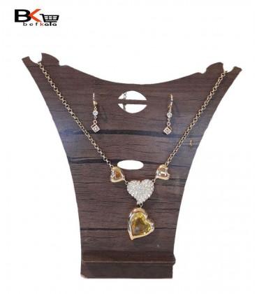 ست دو تیکه زنانه گوشواره و گردنبند طلایی قلبی