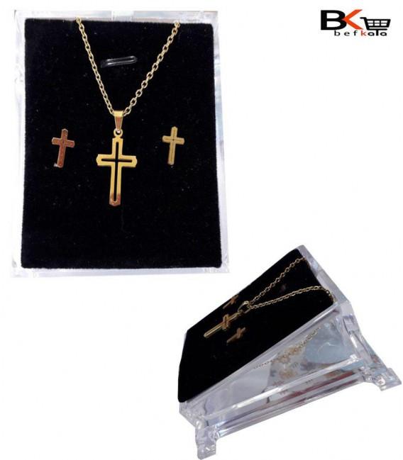نیم ست 2 تیکه زنانه طرح صلیب طلایی