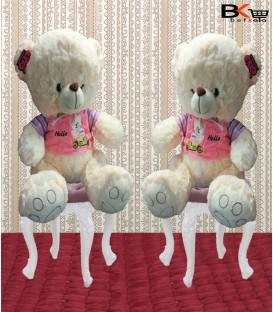 خرس عروسکی لباس مخملی با نوشته ی Hello