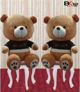 خرس عروسکی لباس قهوه ای با نوشته ی Top Toys