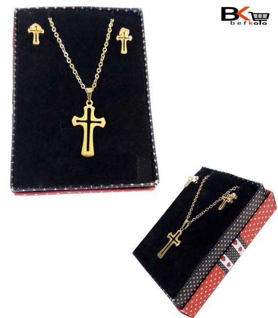 نیم ست 2 تیکه زنانه صلیب طلایی