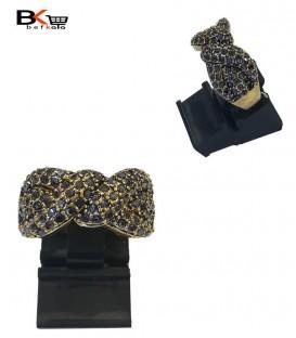 انگشتر استیل زنانه طلایی با سنگ کاری مشکی