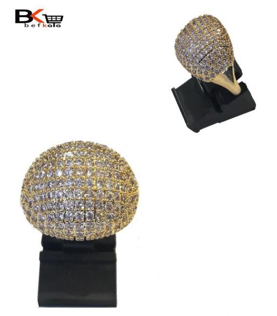 انگشتر شوپینگ زنانه طلایی طرح نیم کره نگینی