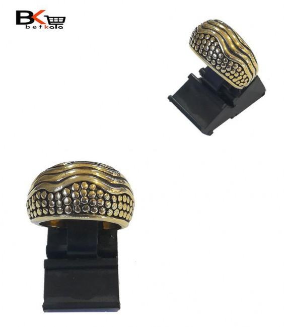 انگشتر شوپینگ زنانه طلایی با طرح سنگ فرش موج دار