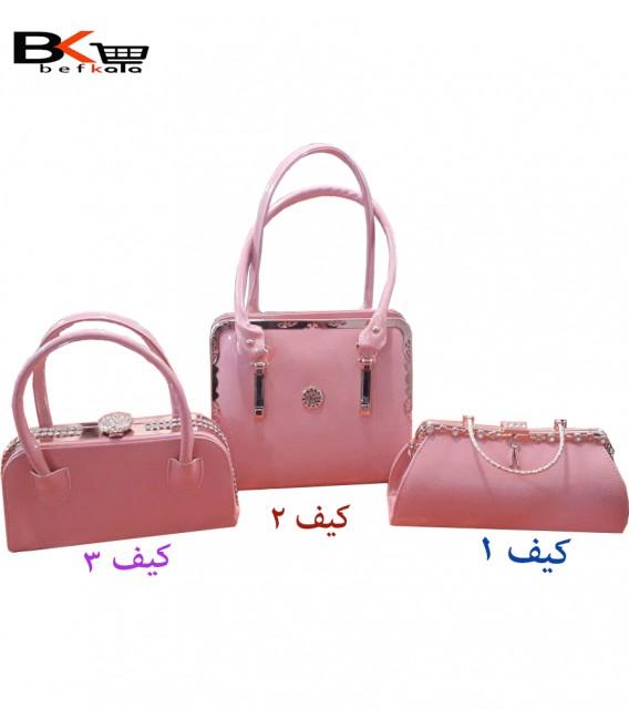 کیف دستی زنانه دو تیکه لب بر آویزدار