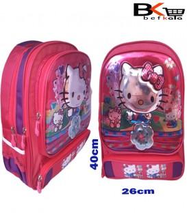 کیف مدرسه ای دخترانه طرح کیتی برجسته شیشه ای مقطع ابتدایی
