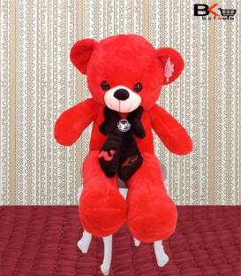 خرس عروسکی قرمز پاپیون دار سایز بزرگ
