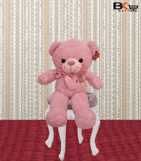 خرس عروسکی صورتی پاپیون دار سایز متوسط