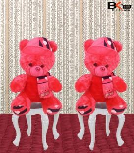 خرس عروسکی شال و کلاه دار صورتی