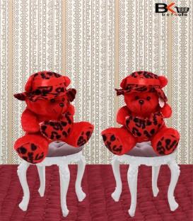 خرس عروسکی قرمز کلاه دار خال مشکی سایز بزرگ
