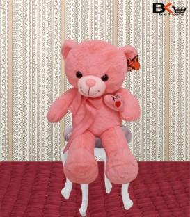 خرس عروسکی صورتی شالگردن دار سایز متوسط