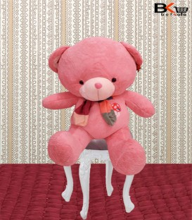 خرس عروسکی صورتی شالگردن دار متوسط