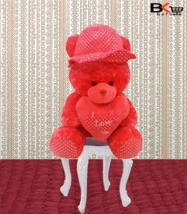 خرس عروسکی قلب دار کلاه خال خالی سایز بزرگ